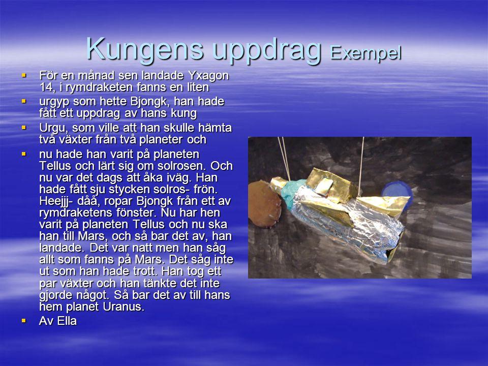 Kungens uppdrag Exempel  För en månad sen landade Yxagon 14, i rymdraketen fanns en liten  urgyp som hette Bjongk, han hade fått ett uppdrag av hans