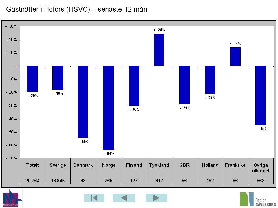 Gästnätter i Hofors (HSVC) – senaste 12 mån