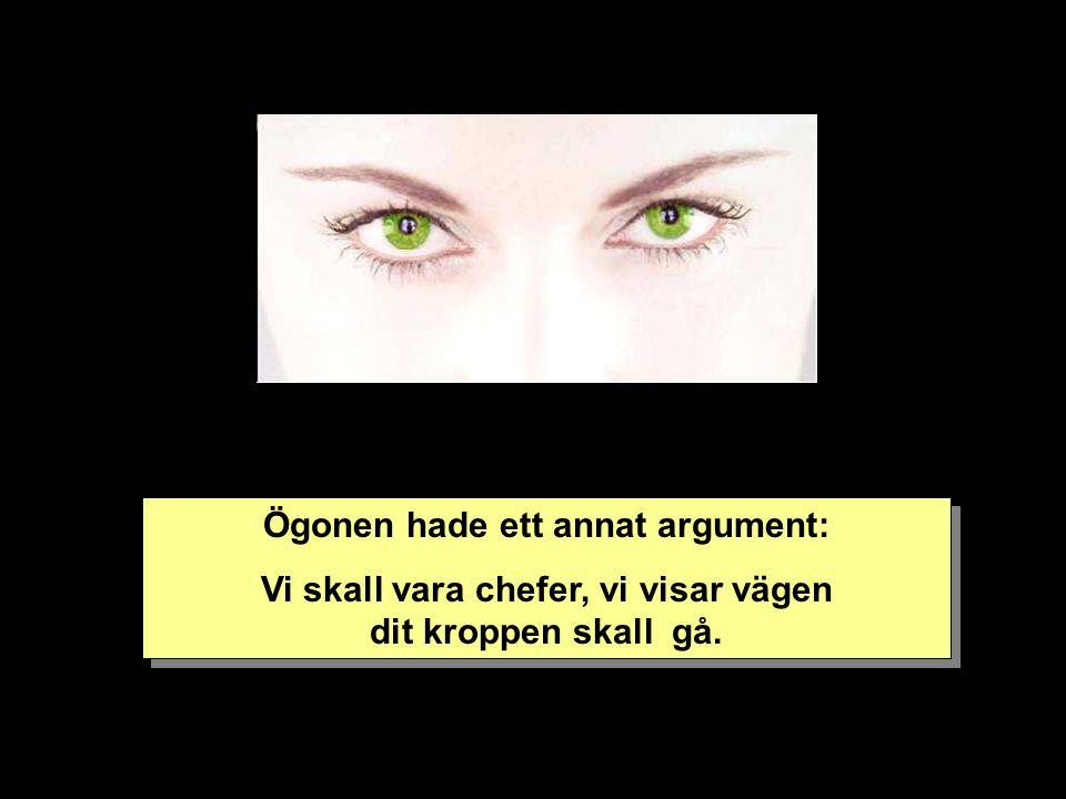 Ögonen hade ett annat argument: Vi skall vara chefer, vi visar vägen dit kroppen skall gå.