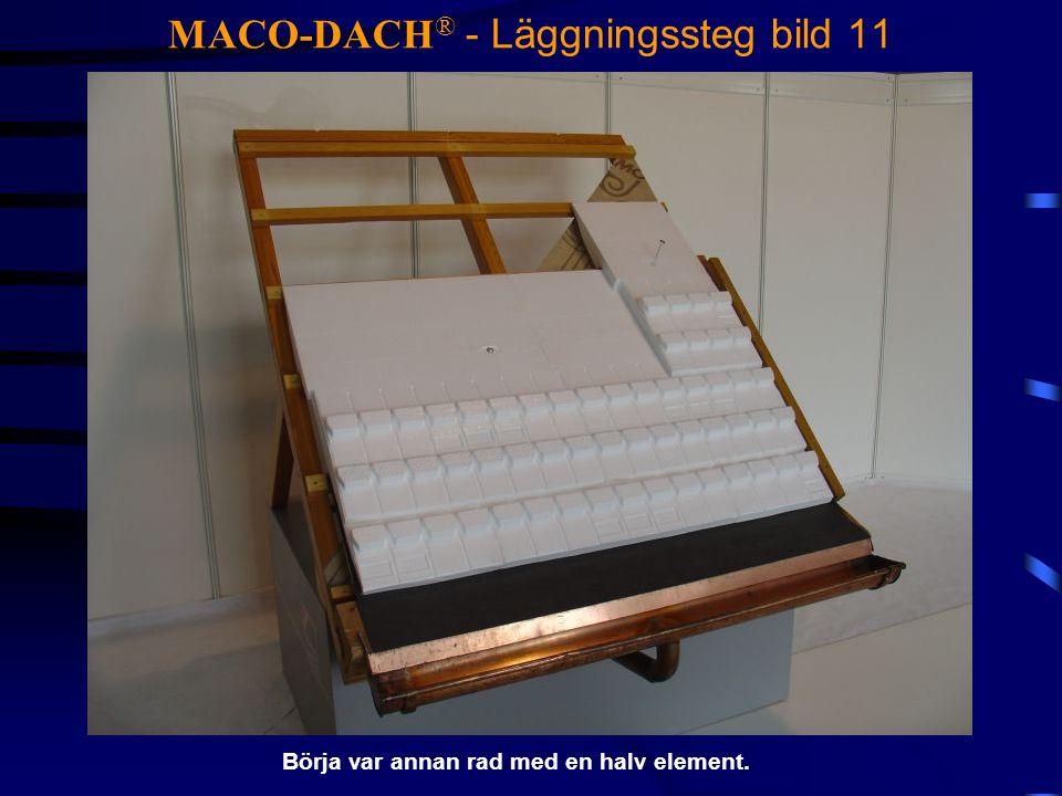 MACO-DACH ® - Läggningssteg bild 11 Börja var annan rad med en halv element.