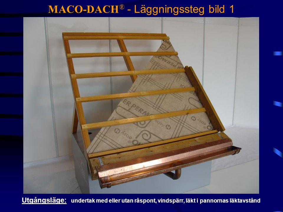 MACO-DACH ® - Läggningssteg bild 1 Utgångsläge: undertak med eller utan råspont, vindspärr, läkt i pannornas läktavstånd