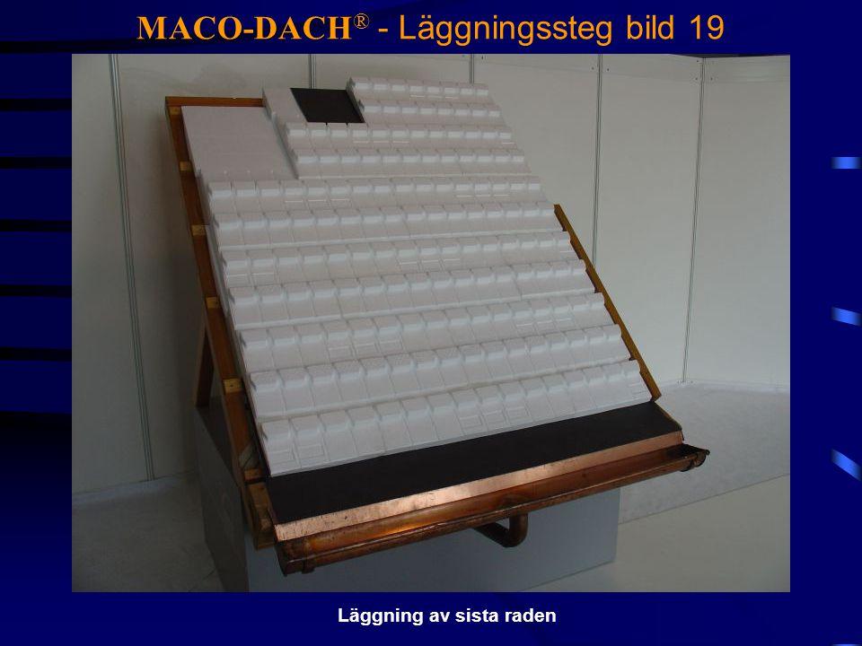 MACO-DACH ® - Läggningssteg bild 19 Läggning av sista raden