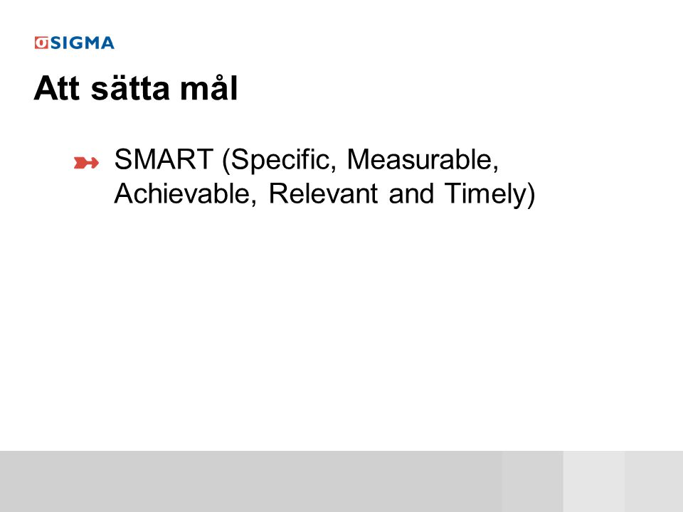 Att sätta mål SMART (Specific, Measurable, Achievable, Relevant and Timely)