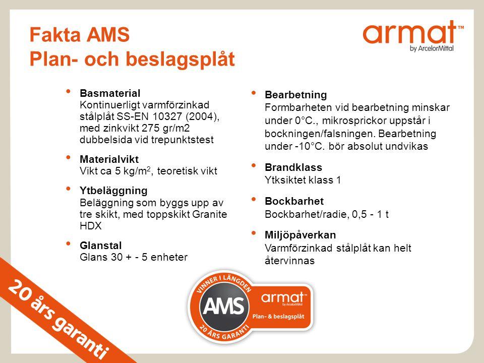 Fakta AMS Plan- och beslagsplåt • Basmaterial Kontinuerligt varmförzinkad stålplåt SS-EN 10327 (2004), med zinkvikt 275 gr/m2 dubbelsida vid trepunkts