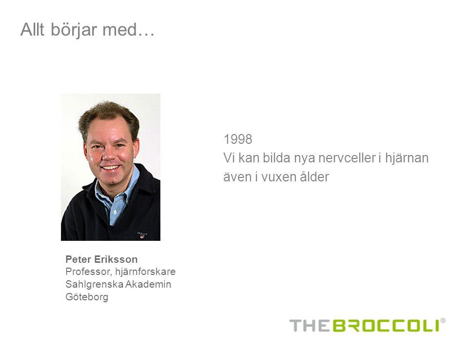 1998 Vi kan bilda nya nervceller i hjärnan även i vuxen ålder Allt börjar med… Peter Eriksson Professor, hjärnforskare Sahlgrenska Akademin Göteborg