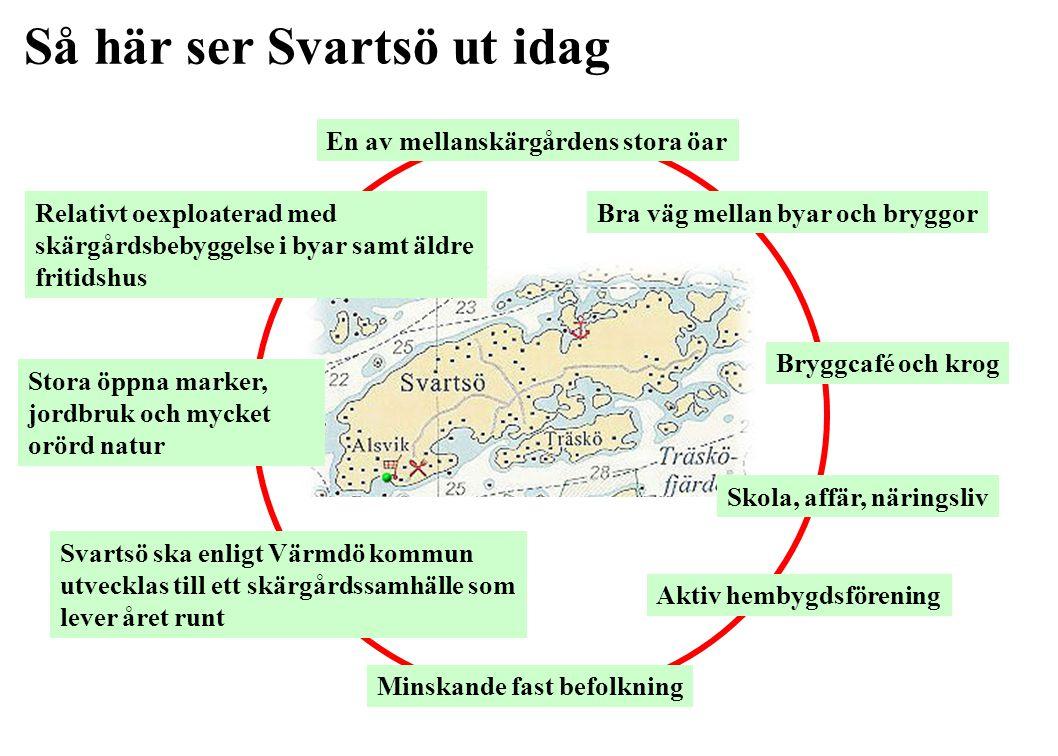 Vision för Svartsö 2025 Det finns •fler fastboende som arbetar på ön eller i skärgården, •fler deltidsboende och •fler fritidsboende Håller du med.