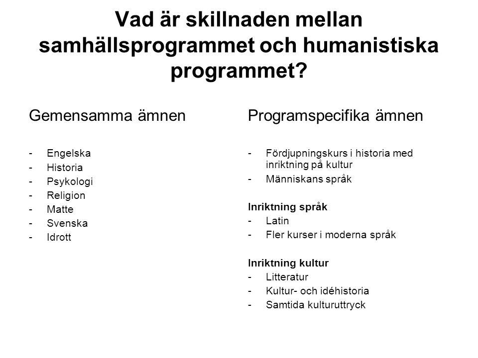 Vad är skillnaden mellan samhällsprogrammet och humanistiska programmet? Gemensamma ämnen -Engelska -Historia -Psykologi -Religion -Matte -Svenska -Id