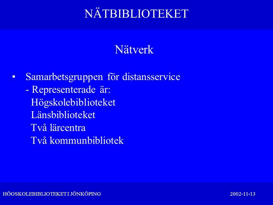 NÄTBIBLIOTEKET HÖGSKOLEBIBLIOTEKET I JÖNKÖPING 2002-11-13 Nätverk •Samarbetsgruppen för distansservice - Representerade är: Högskolebiblioteket Länsbi
