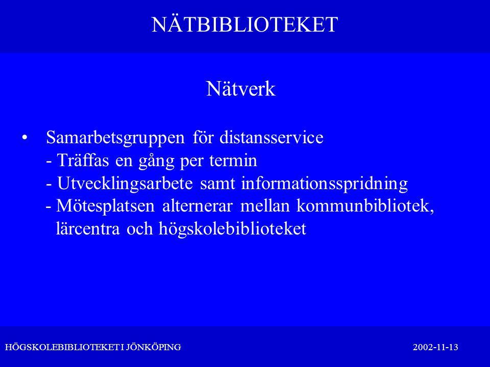 NÄTBIBLIOTEKET HÖGSKOLEBIBLIOTEKET I JÖNKÖPING 2002-11-13 Nätverk •Samarbetsgruppen för distansservice - Träffas en gång per termin - Utvecklingsarbet