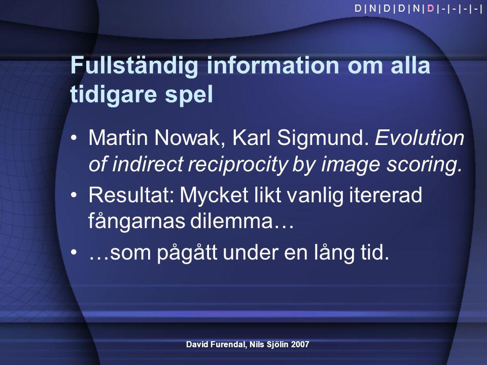 David Furendal, Nils Sjölin 2007 Fullständig information om alla tidigare spel •Martin Nowak, Karl Sigmund. Evolution of indirect reciprocity by image