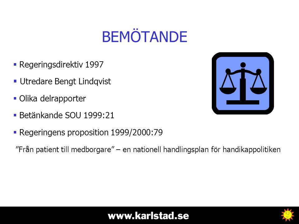 BEMÖTANDE  Regeringsdirektiv 1997  Utredare Bengt Lindqvist  Olika delrapporter  Betänkande SOU 1999:21  Regeringens proposition 1999/2000:79 Från patient till medborgare – en nationell handlingsplan för handikappolitiken