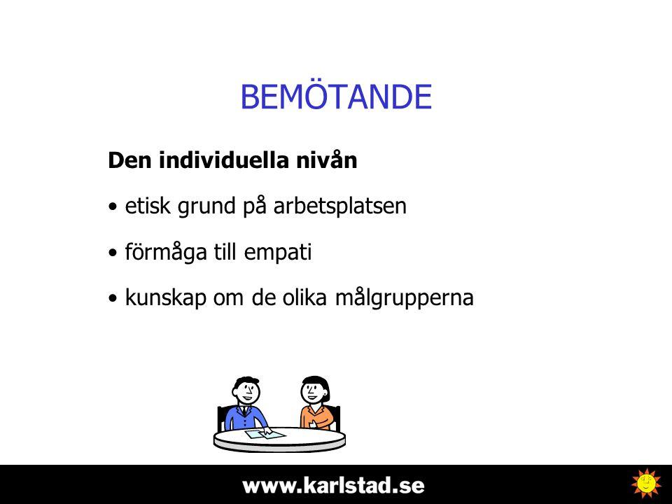 BEMÖTANDE Den individuella nivån • etisk grund på arbetsplatsen • förmåga till empati • kunskap om de olika målgrupperna