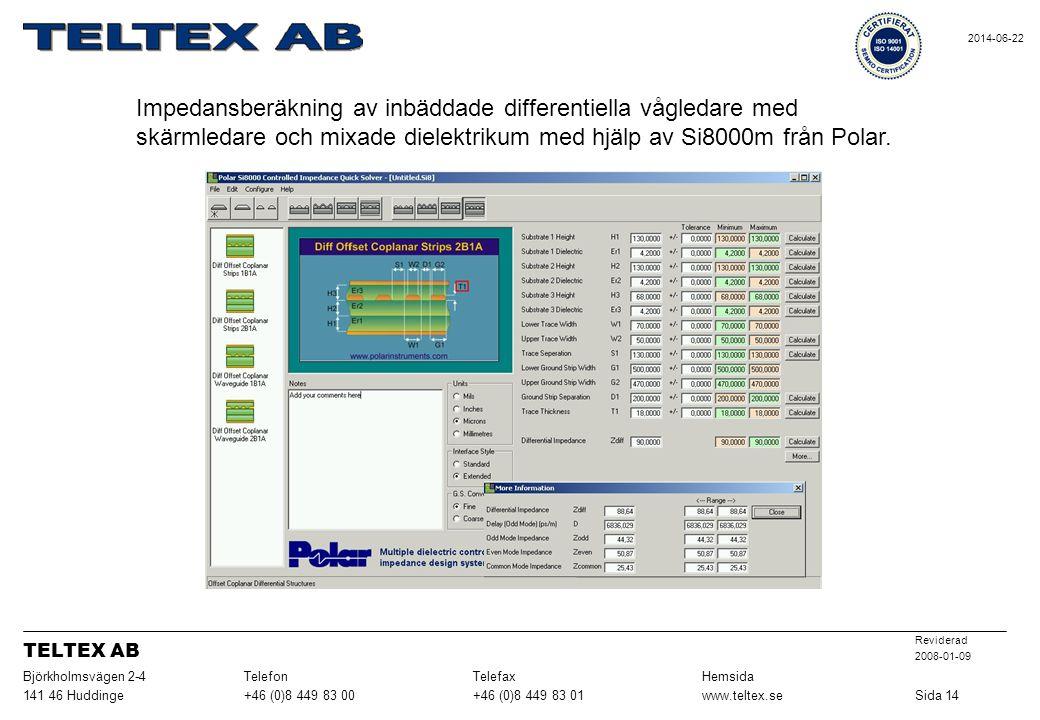 Impedansberäkning av inbäddade differentiella vågledare med skärmledare och mixade dielektrikum med hjälp av Si8000m från Polar.