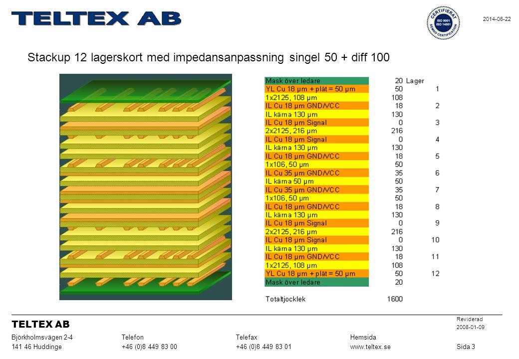 Stackup 12 lagerskort med impedansanpassning singel 50 + diff 100 Sida 3www.teltex.se+46 (0)8 449 83 01+46 (0)8 449 83 00141 46 Huddinge HemsidaTelefaxTelefonBjörkholmsvägen 2-4 Reviderad 2008-01-09 TELTEX AB 2014-06-22