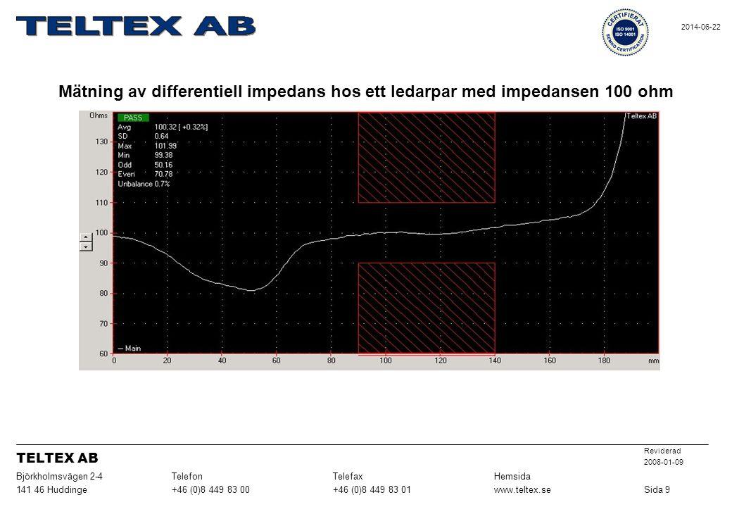 Mätning av differentiell impedans hos ett ledarpar med impedansen 100 ohm Sida 9www.teltex.se+46 (0)8 449 83 01+46 (0)8 449 83 00141 46 Huddinge HemsidaTelefaxTelefonBjörkholmsvägen 2-4 Reviderad 2008-01-09 TELTEX AB 2014-06-22