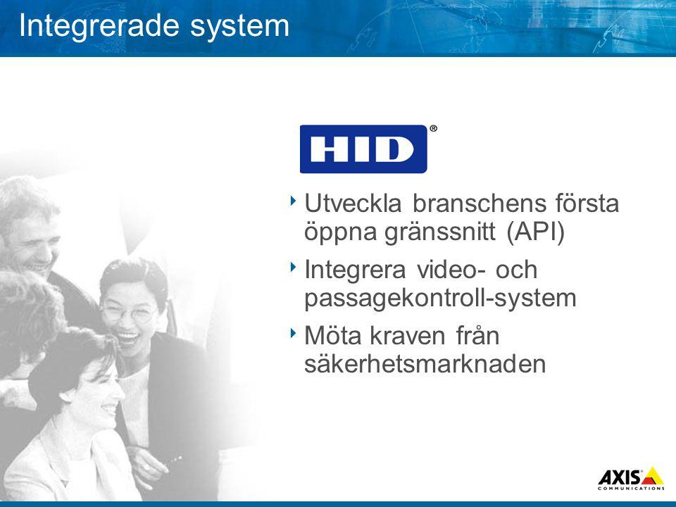 Integrerade system  Utveckla branschens första öppna gränssnitt (API)  Integrera video- och passagekontroll-system  Möta kraven från säkerhetsmarknaden