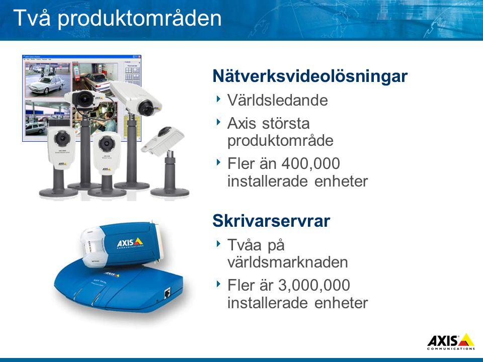 Två produktområden Nätverksvideolösningar  Världsledande  Axis största produktområde  Fler än 400,000 installerade enheter Skrivarservrar  Tvåa på världsmarknaden  Fler är 3,000,000 installerade enheter