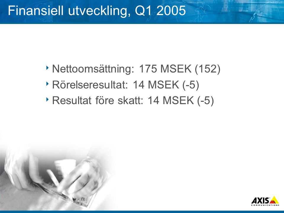 Finansiell utveckling, Q1 2005  Nettoomsättning: 175 MSEK (152)  Rörelseresultat: 14 MSEK (-5)  Resultat före skatt: 14 MSEK (-5)