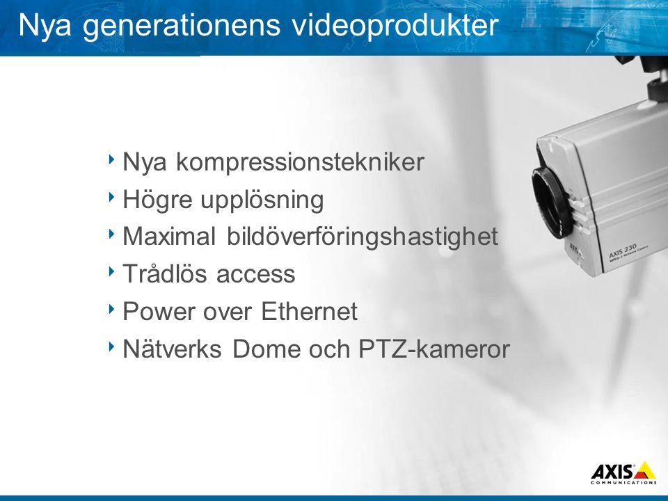 Nya generationens videoprodukter  Nya kompressionstekniker  Högre upplösning  Maximal bildöverföringshastighet  Trådlös access  Power over Ethernet  Nätverks Dome och PTZ-kameror