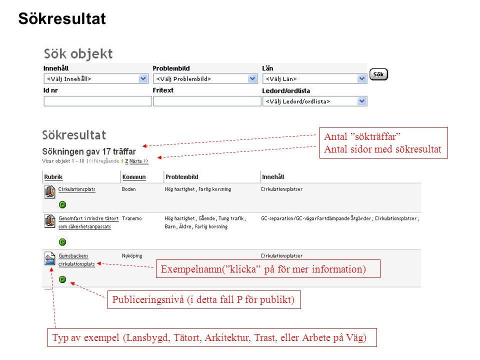 Sökresultat Antal sökträffar Antal sidor med sökresultat Typ av exempel (Lansbygd, Tätort, Arkitektur, Trast, eller Arbete på Väg) Exempelnamn( klicka på för mer information) Publiceringsnivå (i detta fall P för publikt)