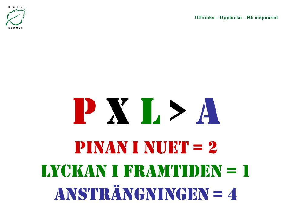 Utforska – Upptäcka – Bli inspirerad P X L > A Pinan i nuet = 2 Lyckan i framtiden = 1 Ansträngningen = 4