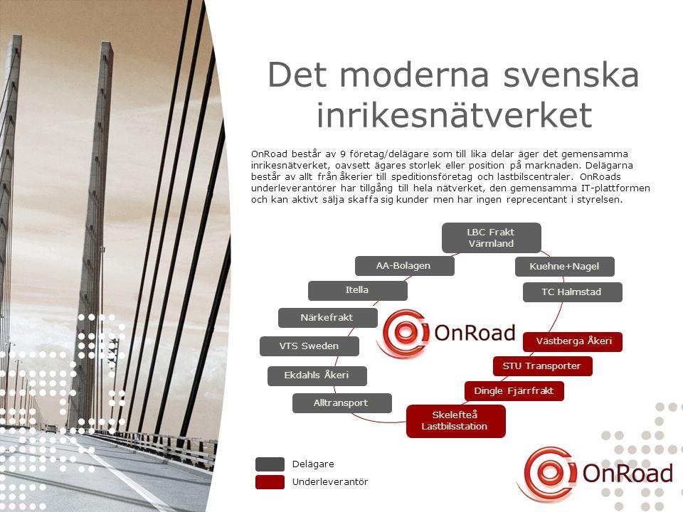 Det moderna svenska inrikesnätverket STU Transporter Dingle Fjärrfrakt Skelefteå Lastbilsstation Västberga Åkeri VTS Sweden Ekdahls Åkeri Alltransport