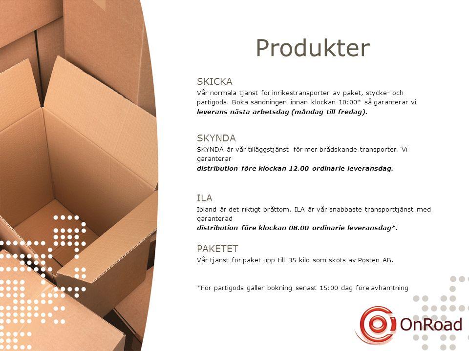 Produkter SKICKA Vår normala tjänst för inrikestransporter av paket, stycke- och partigods. Boka sändningen innan klockan 10:00* så garanterar vi leve