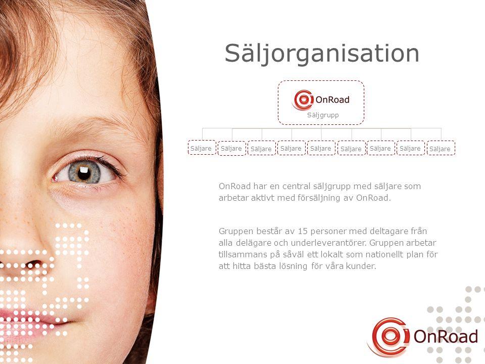 Säljorganisation Säljgrupp Säljare OnRoad har en central säljgrupp med säljare som arbetar aktivt med försäljning av OnRoad. Gruppen består av 15 pers