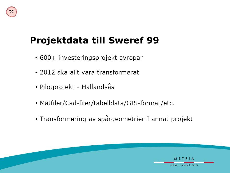tc Projektdata till Sweref 99 • 600+ investeringsprojekt avropar • 2012 ska allt vara transformerat • Pilotprojekt - Hallandsås • Mätfiler/Cad-filer/t