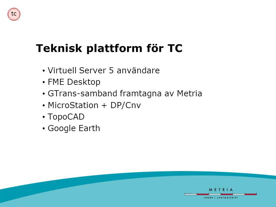 Teknisk plattform för TC • Virtuell Server 5 användare • FME Desktop • GTrans-samband framtagna av Metria • MicroStation + DP/Cnv • TopoCAD • Google E