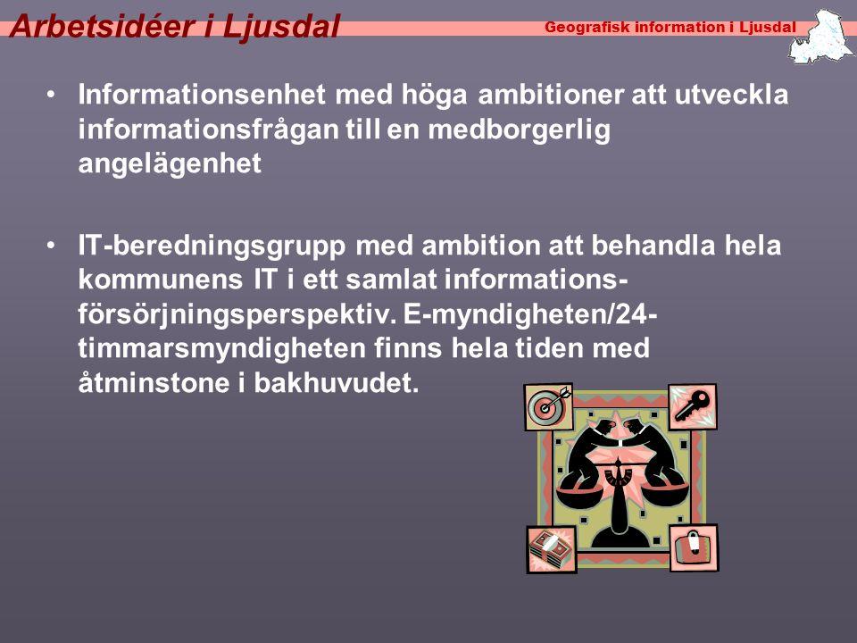 Geografisk information i Ljusdal Arbetsidéer i Ljusdal •Informationsenhet med höga ambitioner att utveckla informationsfrågan till en medborgerlig angelägenhet •IT-beredningsgrupp med ambition att behandla hela kommunens IT i ett samlat informations- försörjningsperspektiv.