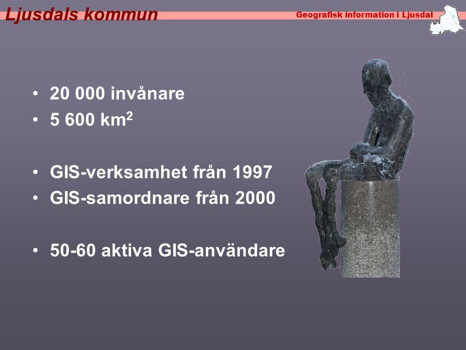 Ljusdals kommun •20 000 invånare •5 600 km 2 •GIS-verksamhet från 1997 •GIS-samordnare från 2000 •50-60 aktiva GIS-användare