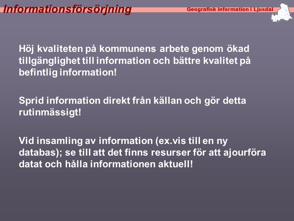 Geografisk information i Ljusdal Analysera behoven: Vilka informationsbehov finns i kommunen.