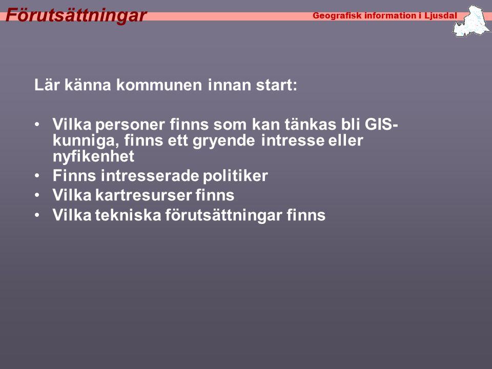 Geografisk information i Ljusdal Klassiska exempel I samband med GIS figurerar en samling klassiska kommuntillämpningar av GIS.