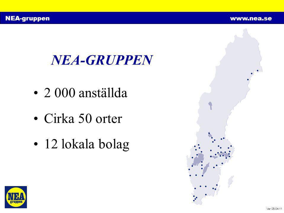NEA-gruppenwww.nea.se Ver 05-04-11 NEA-GRUPPEN Historia: •Historia från 1896 •Tidigare dotterbolag till ASEA •Familjeägt från 1949 •Börsnoterat från 1982 •Har växt genom stegvisa köp av lokala bolag