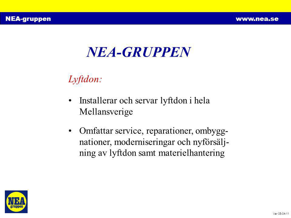 NEA-gruppenwww.nea.se Ver 05-04-11 NEA-GRUPPEN Lyftdon: •Installerar och servar lyftdon i hela Mellansverige •Omfattar service, reparationer, ombygg-