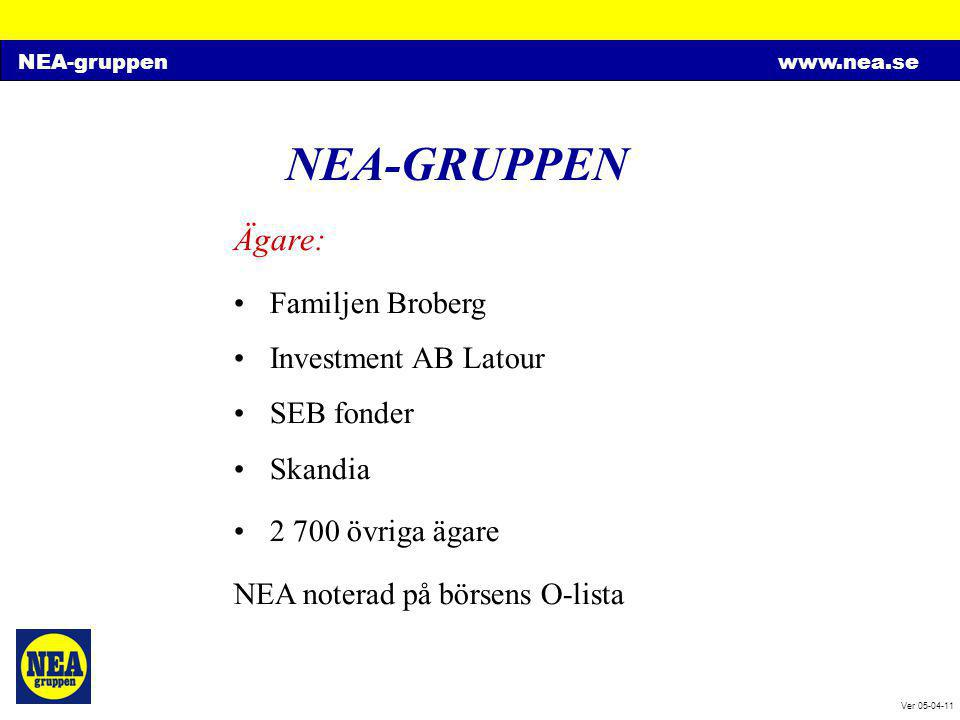 NEA-gruppenwww.nea.se Ver 05-04-11 NEA-GRUPPEN Ägare: •Familjen Broberg •Investment AB Latour •SEB fonder •Skandia •2 700 övriga ägare NEA noterad på