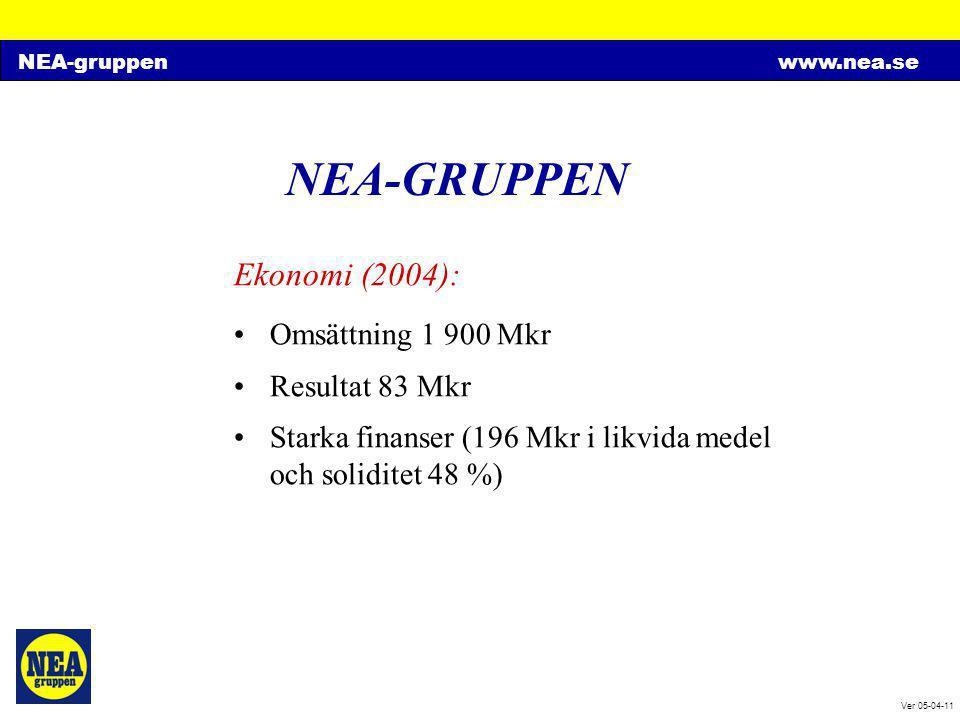 NEA-gruppenwww.nea.se Ver 05-04-11 NEA-GRUPPEN Ekonomi (2004): •Omsättning 1 900 Mkr •Resultat 83 Mkr •Starka finanser (196 Mkr i likvida medel och so