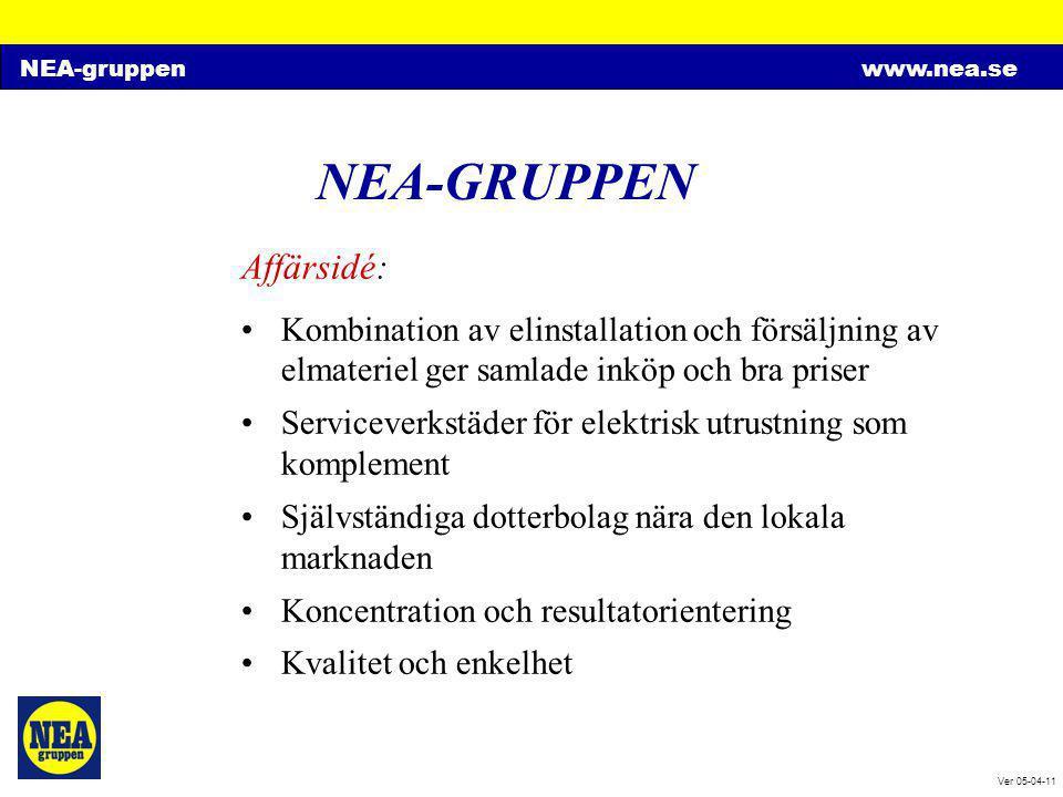 NEA-gruppenwww.nea.se Ver 05-04-11 NEA-GRUPPEN Kvalitet & Miljö •Certifiering enligt ISO 9001:2000 •Certifiering enligt ISO 14001:1996 • När kunden är nöjd har vi gjort rätt Organisation: •Lokala bolag med kompletta funktioner •Samverkan mellan bolagen vid stora projekt • Stor lokal frihet inom fasta ramar •Obyråkratiskt arbetssätt