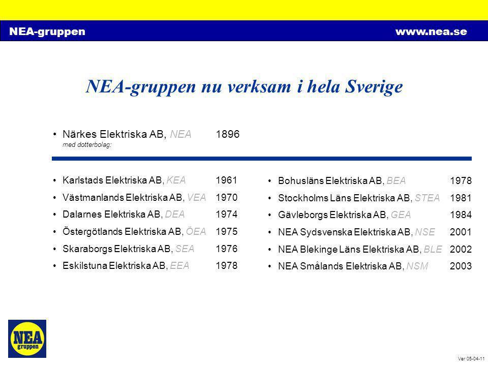 NEA-gruppenwww.nea.se Ver 05-04-11 NEA-gruppen nu verksam i hela Sverige •Närkes Elektriska AB, NEA1896 med dotterbolag: •Karlstads Elektriska AB, KEA
