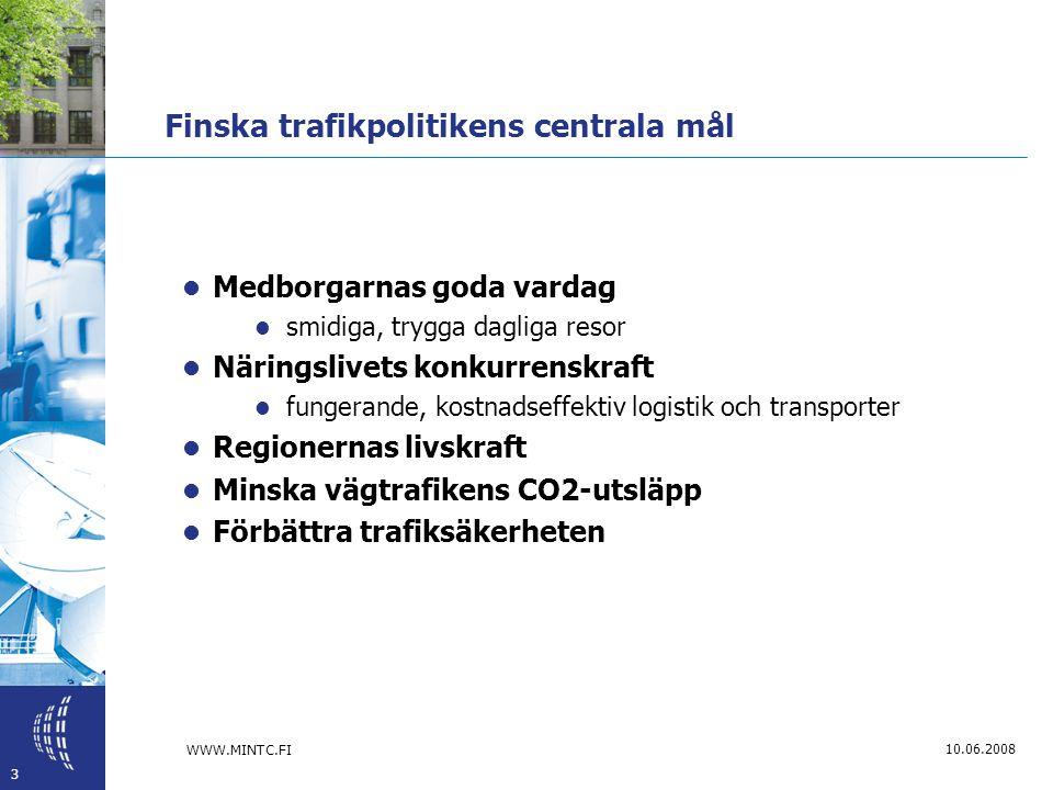 WWW.MINTC.FI 3 10.06.2008 Finska trafikpolitikens centrala mål  Medborgarnas goda vardag  smidiga, trygga dagliga resor  Näringslivets konkurrenskraft  fungerande, kostnadseffektiv logistik och transporter  Regionernas livskraft  Minska vägtrafikens CO2-utsläpp  Förbättra trafiksäkerheten