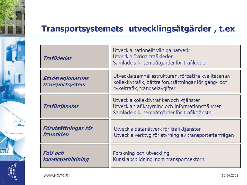 WWW.MINTC.FI 5 10.06.2008 Transportsystemets utvecklingsåtgärder, t.ex Trafikleder Utveckla nationellt viktiga nätverk Utveckla övriga trafikleder Samlade s.k.