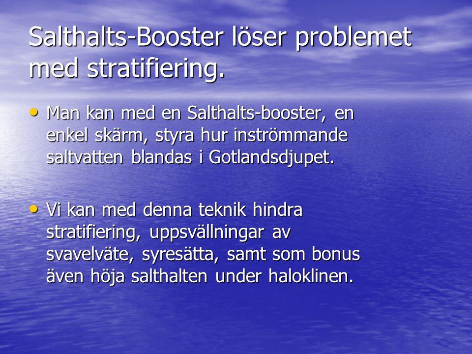 Salthalts-Booster löser problemet med stratifiering. • Man kan med en Salthalts-booster, en enkel skärm, styra hur inströmmande saltvatten blandas i G
