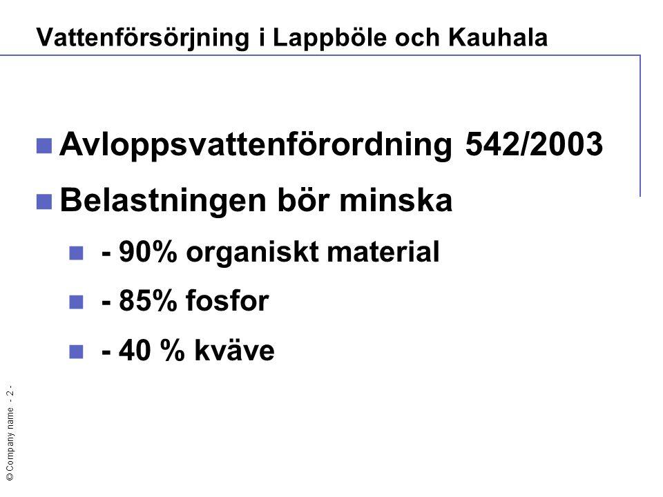 © Company name - 2 -  Avloppsvattenförordning 542/2003  Belastningen bör minska  - 90% organiskt material  - 85% fosfor  - 40 % kväve Vattenförsö