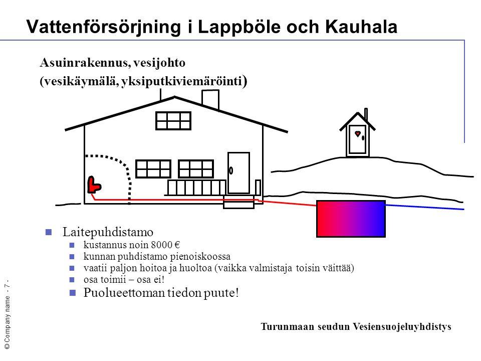 © Company name - 7 -  Laitepuhdistamo  kustannus noin 8000 €  kunnan puhdistamo pienoiskoossa  vaatii paljon hoitoa ja huoltoa (vaikka valmistaja