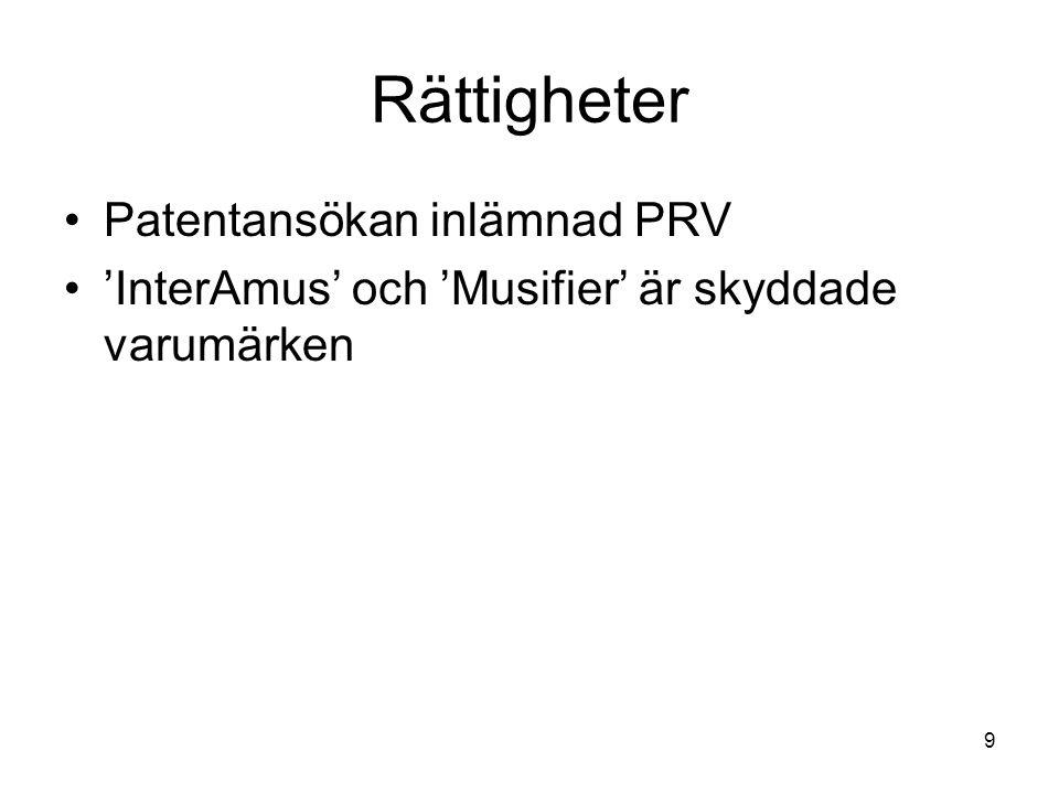 9 Rättigheter •Patentansökan inlämnad PRV •'InterAmus' och 'Musifier' är skyddade varumärken