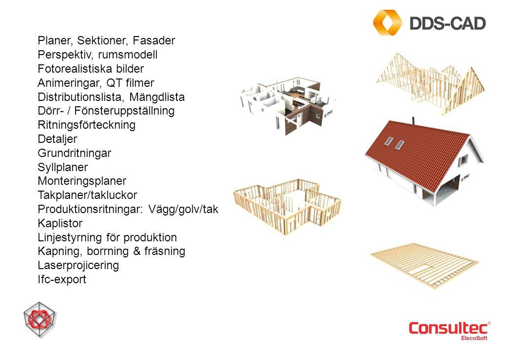 Planer, Sektioner, Fasader Perspektiv, rumsmodell Fotorealistiska bilder Animeringar, QT filmer Distributionslista, Mängdlista Dörr- / Fönsteruppställ