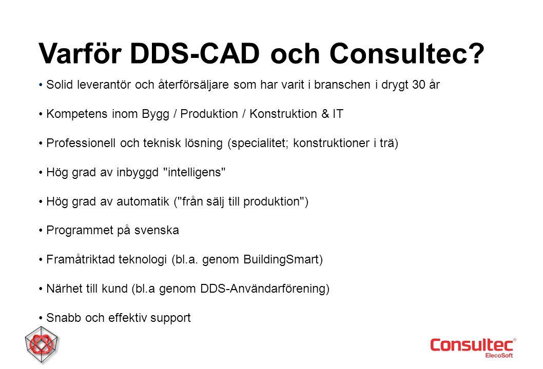 Varför DDS-CAD • Solid leverantör och återförsäljare som har varit i branschen i drygt 30 år • Kompetens inom Bygg / Produktion / Konstruktion & IT •