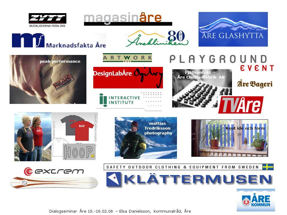 Dialogseminar Åre 15.-16.02.06 – Elsa Danielsson, kommunalråd, Åre peak performance Fjällkonfekt – Åre Chokladfabrik AB Xent idé och form mattias fred