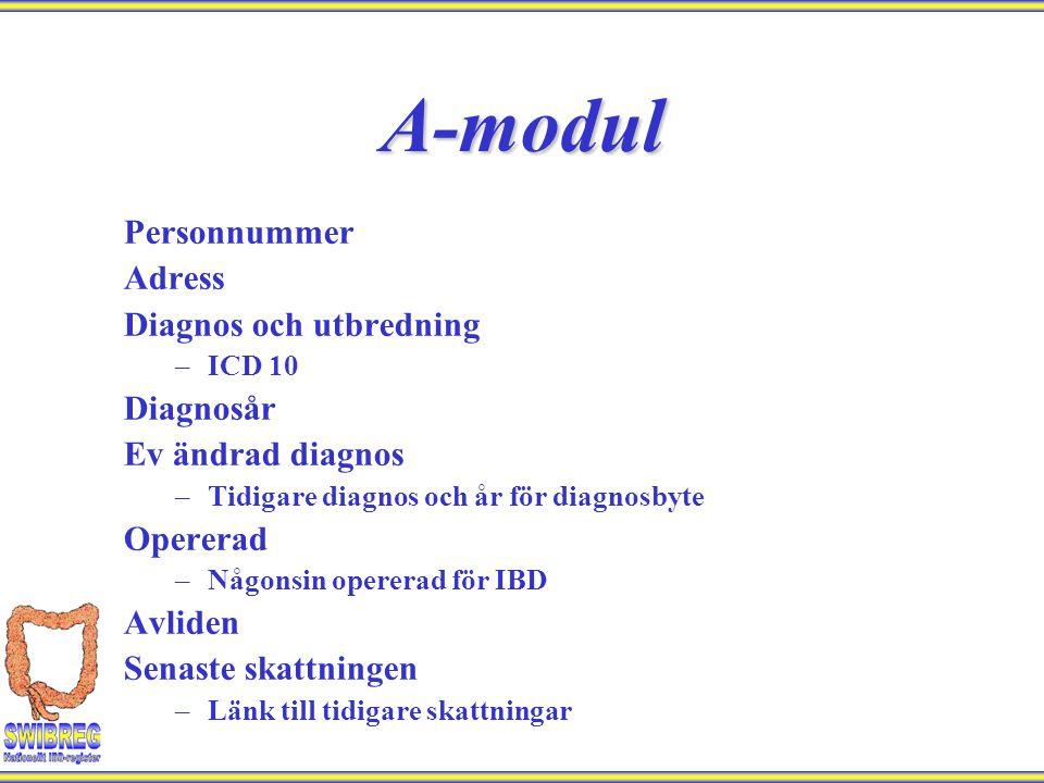 Personnummer Adress Diagnos och utbredning –ICD 10 Diagnosår Ev ändrad diagnos –Tidigare diagnos och år för diagnosbyte Opererad –Någonsin opererad fö